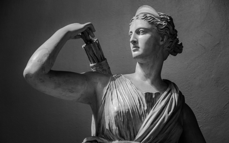Statue of Artemis, Greek goddess of wild animals, the hunt, and vegetation and of chastity and childbirth