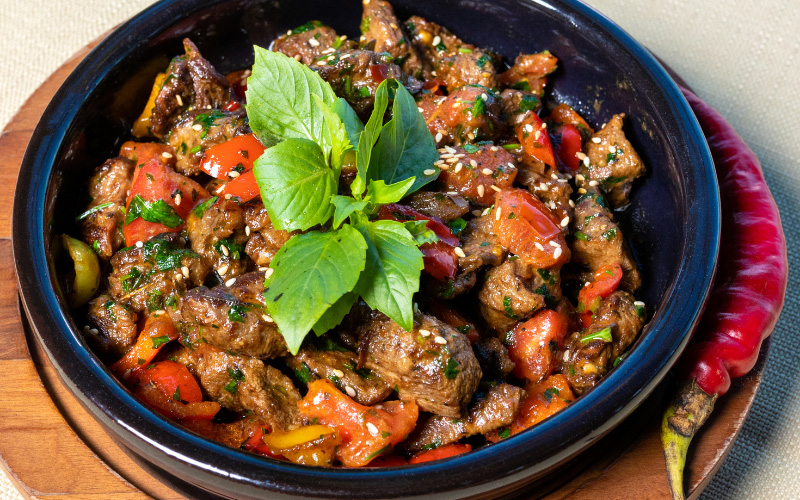 Venison Chili Dish with Garnish